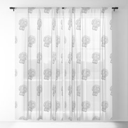 Neoclassical French head statue Sheer Curtain