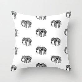 Elephant Flourish in Black Throw Pillow