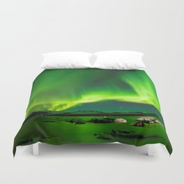 Northern Lights In Iceland Duvet Cover