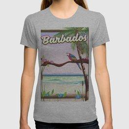 Barbados vintage parrot travel poster T-shirt