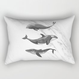 Ocean Whales Marble Black and White Rectangular Pillow