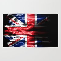 british flag Area & Throw Rugs featuring British flames  by Cozmic Photos
