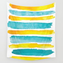 Watercolor yellow and turquoise stripes Wall Tapestry