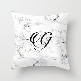 Letter G on Marble texture Initial personalized monogram Throw Pillow