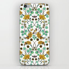 Warblers & Moths - Yellow & Teal Spring Floral/Bird Pattern iPhone Skin