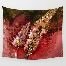 Abstract Red Floral Sprays Wall Tapestry