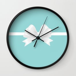 Turquoise & White Bow Wall Clock