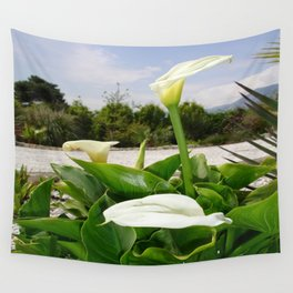 Three Cream Calla Lilies With Garden Background Wall Tapestry