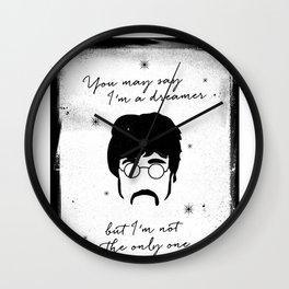 Black Brush - You may say I'm a dreamer Wall Clock