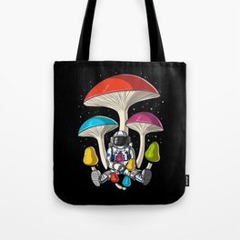 Space Astronaut Psychedelic Mushrooms Festival Tote Bag