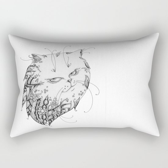 Abstract black and white cat Rectangular Pillow