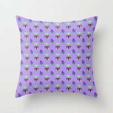 Psychedelic Woodland Mint Owl Throw Pillow