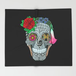 Lady Skull ready to party Throw Blanket