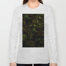 Temple ruins vegetation landscape texture intricate pattern 3d illustration background Long Sleeve T-shirt
