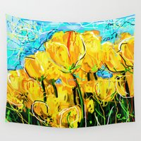 tulips Wall Tapestries featuring Tulips  by sladja