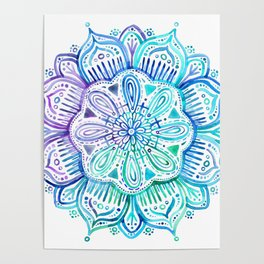 Iridescent Aqua and Purple Watercolor Mandala Poster