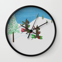 Hitting the Slopes - Scotties - Scottish Terriers Wall Clock
