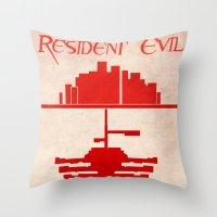 resident evil Throw Pillows featuring Resident Evil by JackEmmett