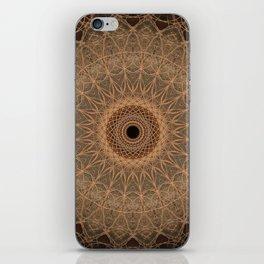 Mandala in golden and brown tones iPhone Skin