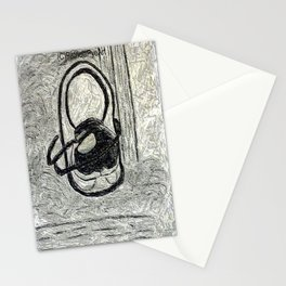 egg in a shoe in charcoal and graphite  Stationery Cards