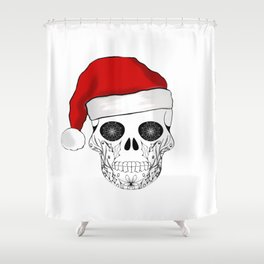Christmas skull Santa design Shower Curtain