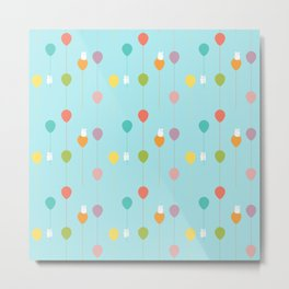 Fluffy bunnies and the rainbow balloons pattern Metal Print