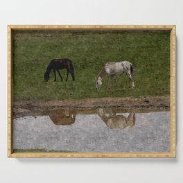 Grazing Horses by the River Serving Tray
