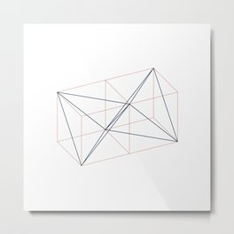#346 Two tetrahedrons in adjacent cubes – Geometry Daily Metal Print