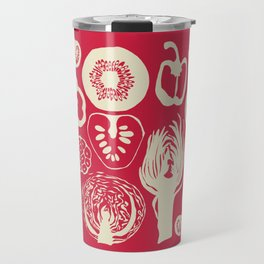 Adorned Fruit and Vegetable Box in Deep Red and Cream Travel Mug