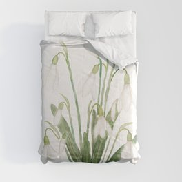 white snowdrop flower watercolor Comforters