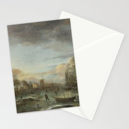 Aert Van Der Neer - A Frozen River By A Town At Evening Stationery Cards