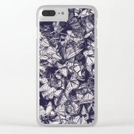 Indigo butterfly photograph duo tone blue and cream Clear iPhone Case