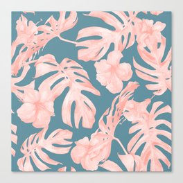 Tropical Palm Leaves and Hibiscus Pink Teal Blue Canvas Print