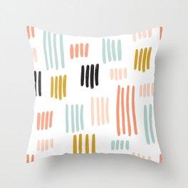 Colorful random brushstrokes pattern Throw Pillow