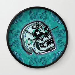 Sarcasm skull on pillow Wall Clock