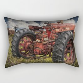 Abandoned Old Farmall Tractor in a Grassy Field on a Farm Rectangular Pillow