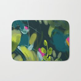 abstract jungle fever leaves in floral green Bath Mat