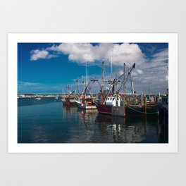 Fishing boats in Province town harbor Art Print
