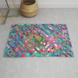geometric square pixel pattern abstract background in blue pink Rug