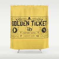 roald dahl Shower Curtains featuring THE GOLDEN TICKET by Level Seven