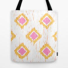 Simple, Painterly Ikat With Pink, Light and Dark Orange Tote Bag