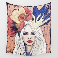 warrior Wall Tapestries featuring Warrior by Lisa Ferrante