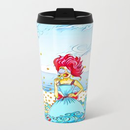 Girl at the beach Metal Travel Mug