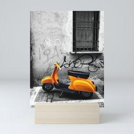 Orange Vespa in Bologna Black and White Photography Mini Art Print