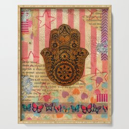 Hearts and Butterfly Hamsa Serving Tray