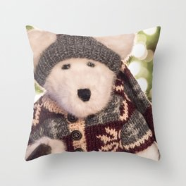 Cuddly Christmas Stuffed Polar Bear Toy in Sweater Throw Pillow