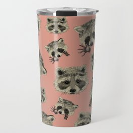 Racoon pattern with pink background Travel Mug