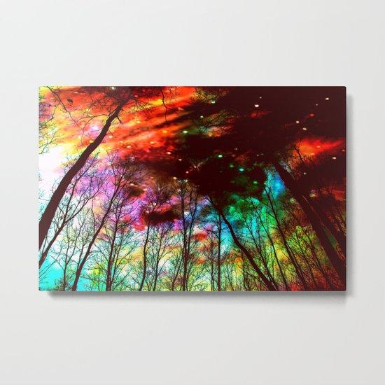 Black Trees Haunting Space Metal Print