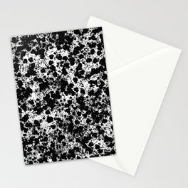Peppered - Abstract, black and white paint splats Stationery Cards
