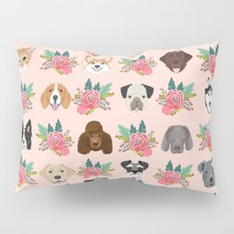 Dogs and cat breeds pet pattern cute faces corgi boston terrier husky airedale Pillow Sham